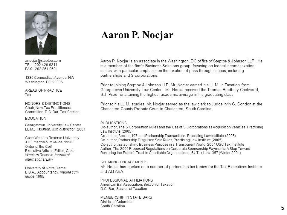 Aaron P. Nocjar anocjar@steptoe.com TEL: 202.429.6211 FAX: 202.261.0601. 1330 Connecticut Avenue, NW.