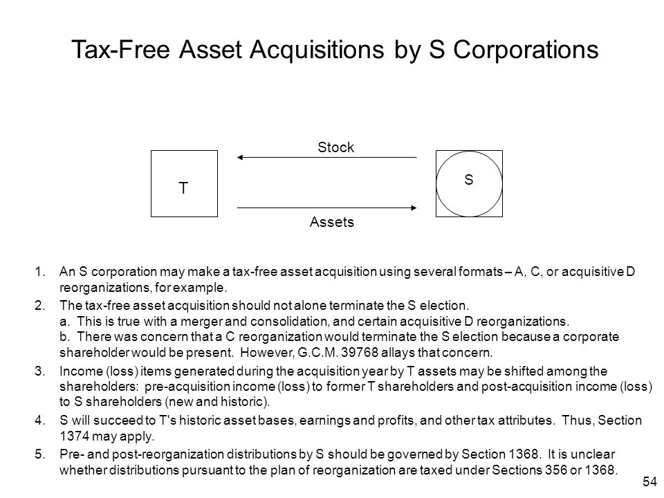 Tax-Free Asset Acquisitions by S Corporations