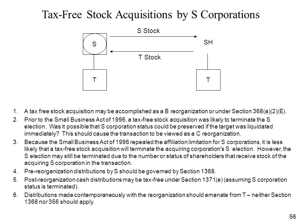 Tax-Free Stock Acquisitions by S Corporations