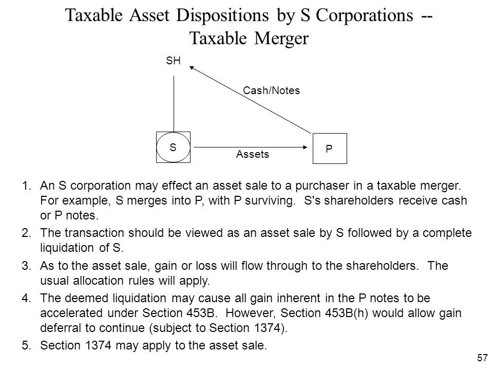 Taxable Asset Dispositions by S Corporations -- Taxable Merger