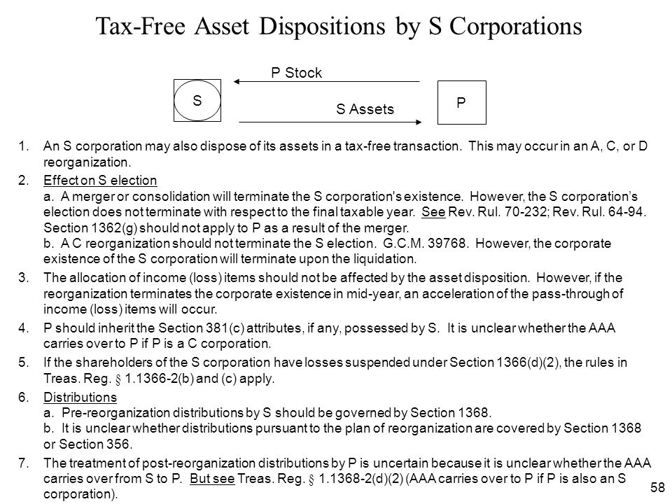 Tax-Free Asset Dispositions by S Corporations
