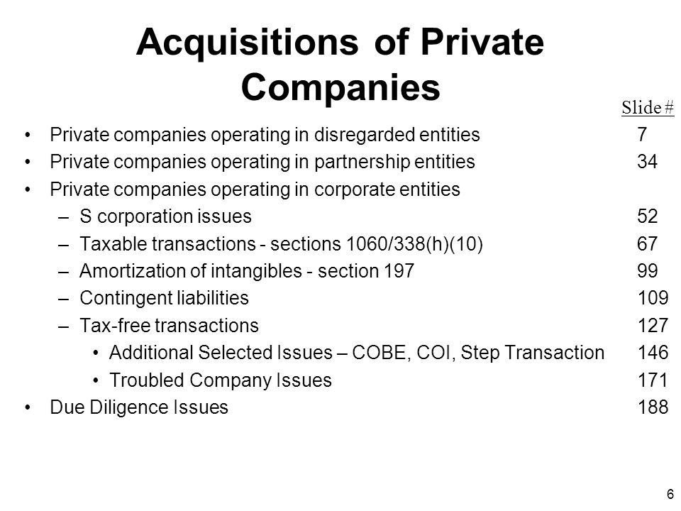 Acquisitions of Private Companies