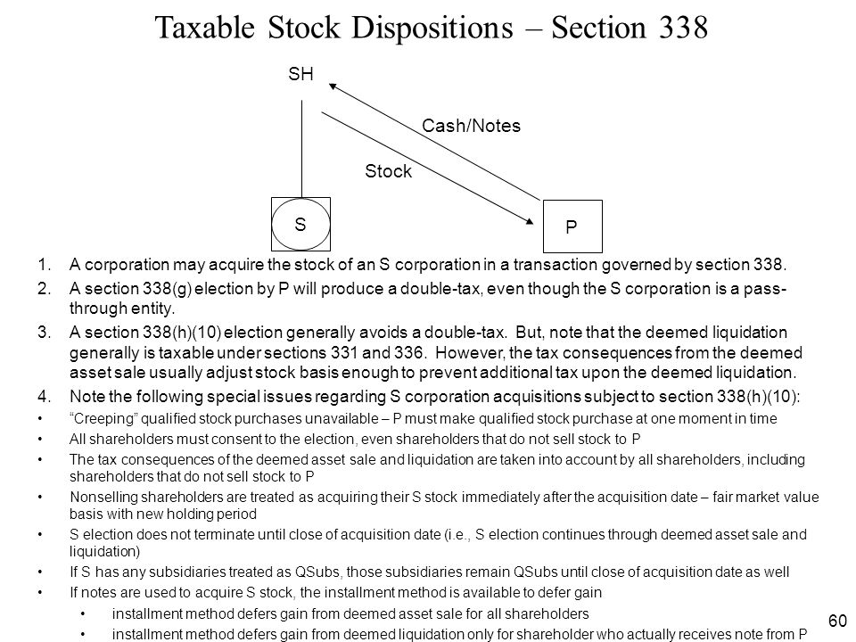 Taxable Stock Dispositions – Section 338