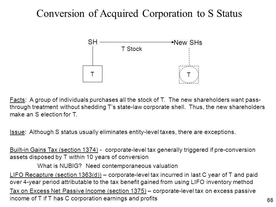 Conversion of Acquired Corporation to S Status