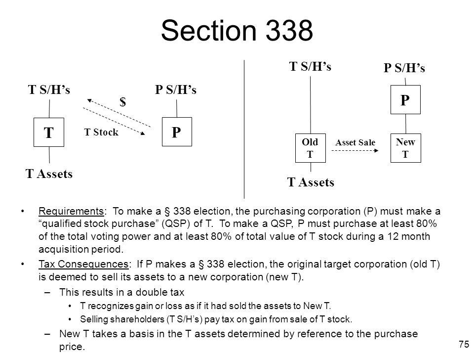 Section 338 P T P T S/H's P S/H's T S/H's P S/H's $ T Assets T Assets