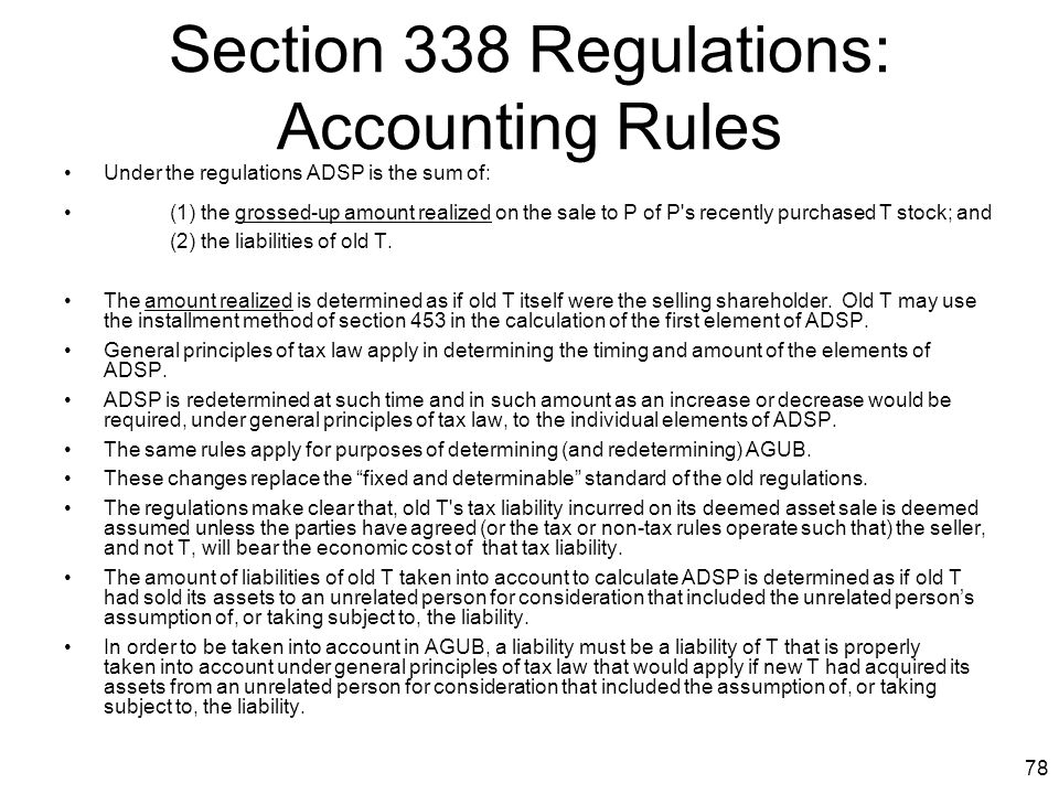 Section 338 Regulations: Accounting Rules