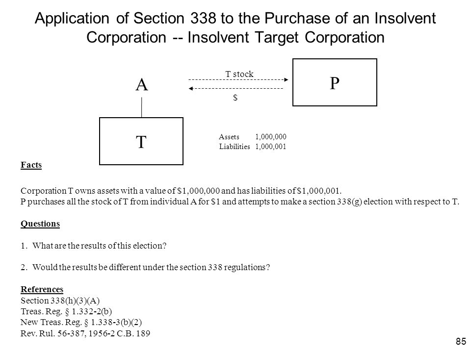 Application of Section 338 to the Purchase of an Insolvent Corporation -- Insolvent Target Corporation