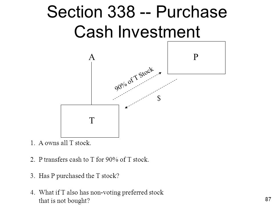 Section 338 -- Purchase Cash Investment