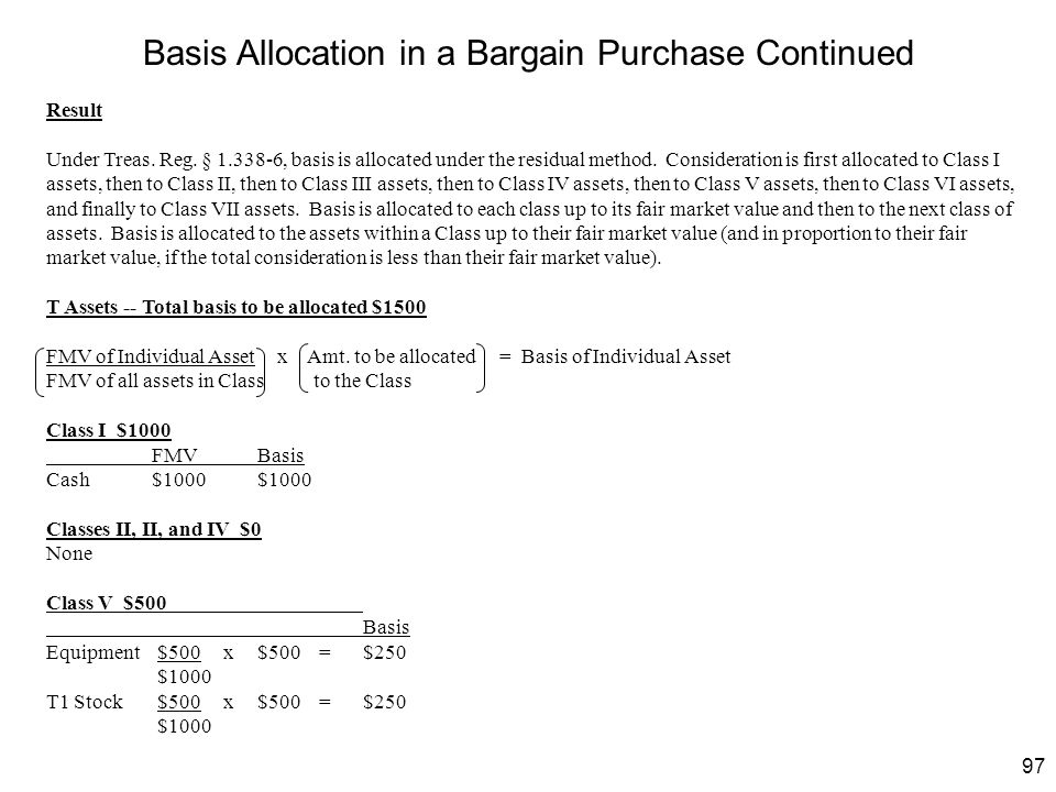 Basis Allocation in a Bargain Purchase Continued