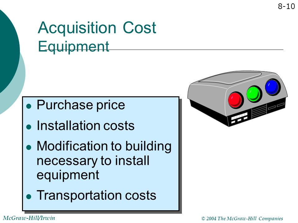 Acquisition Cost Equipment