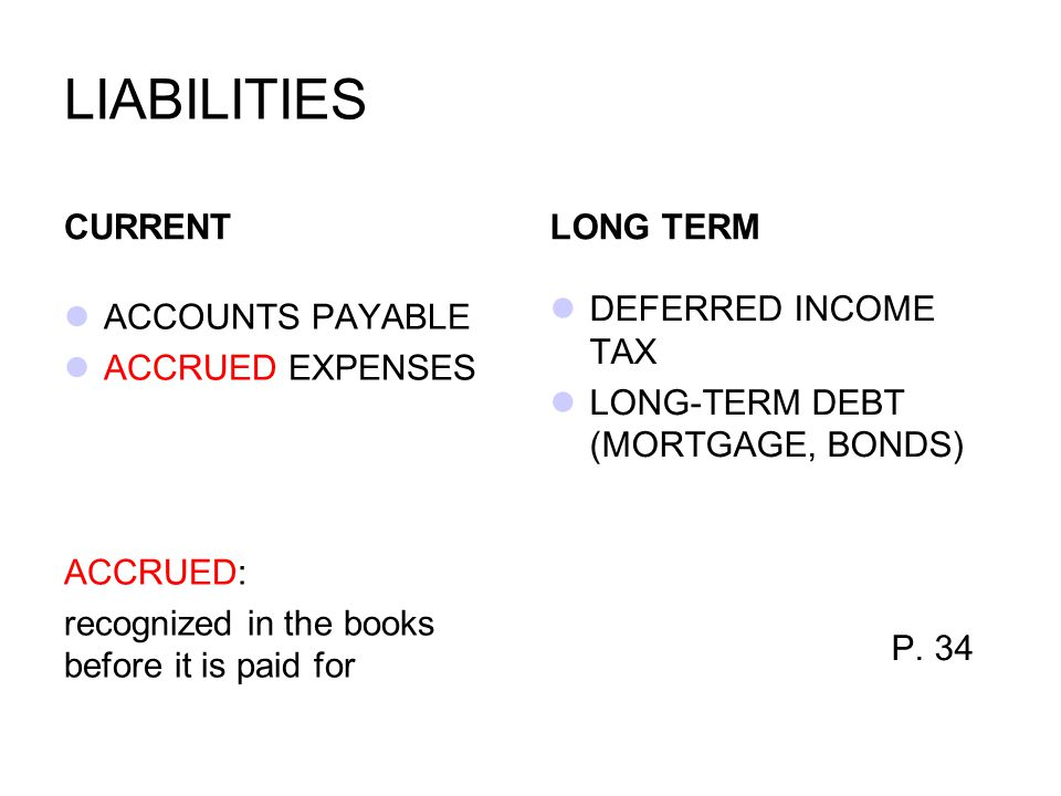 LIABILITIES CURRENT LONG TERM DEFERRED INCOME TAX