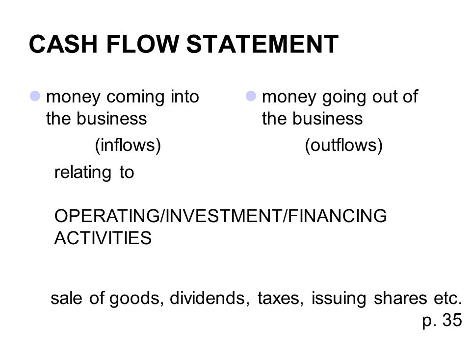 CASH FLOW STATEMENT money coming into the business (inflows)