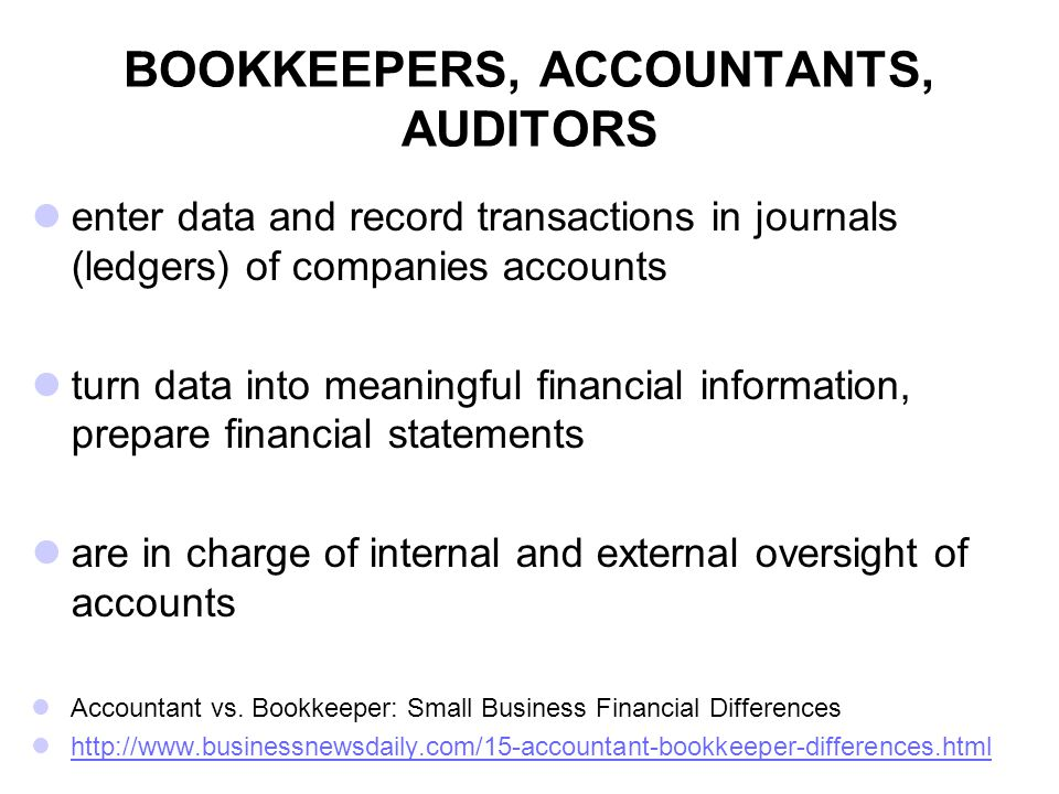 BOOKKEEPERS, ACCOUNTANTS, AUDITORS
