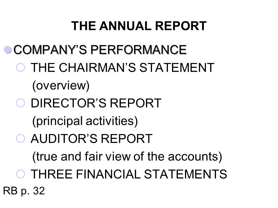 COMPANY'S PERFORMANCE THE CHAIRMAN'S STATEMENT (overview)