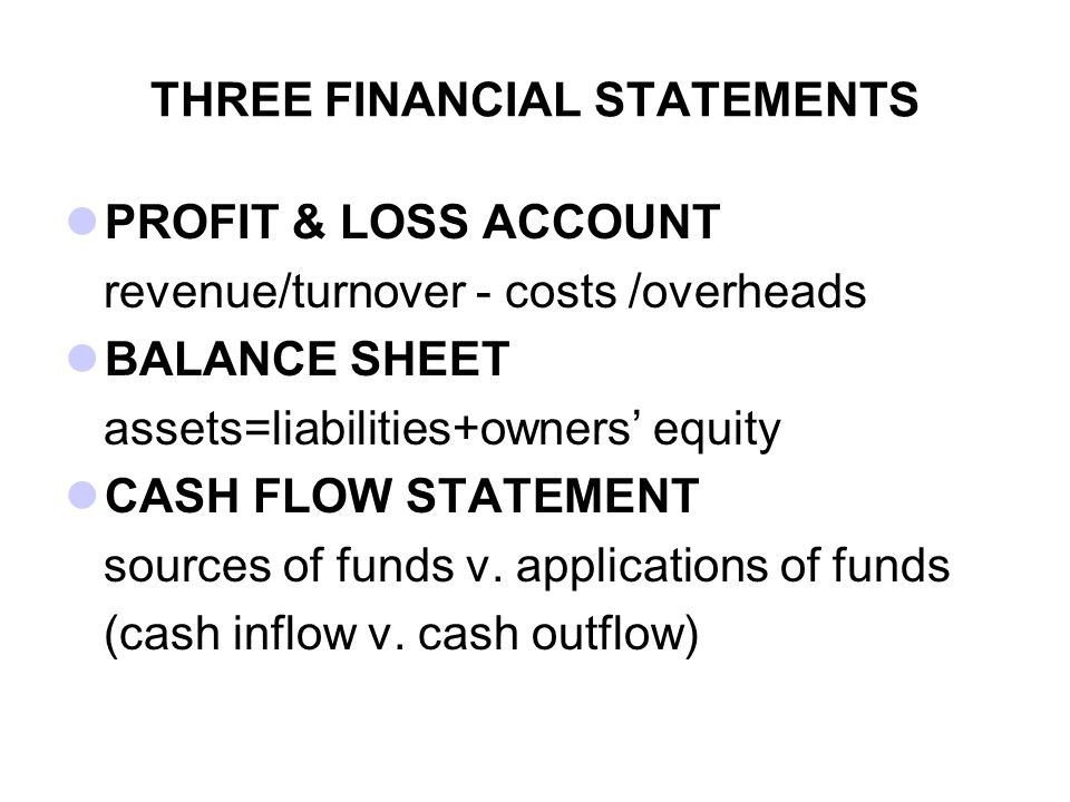 THREE FINANCIAL STATEMENTS