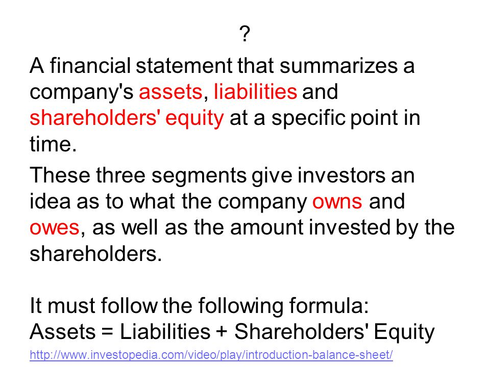 A financial statement that summarizes a company s assets, liabilities and shareholders equity at a specific point in time.