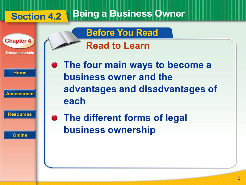 Read to Learn The four main ways to become a business owner and the advantages and disadvantages of each.