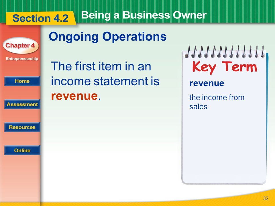 The first item in an income statement is revenue.