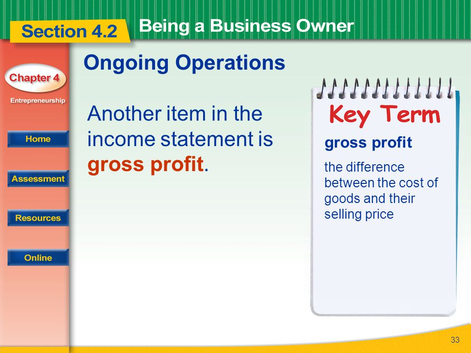 Another item in the income statement is gross profit.