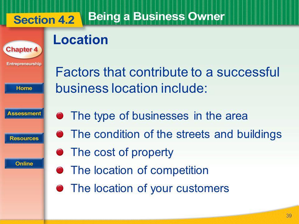 Factors that contribute to a successful business location include: