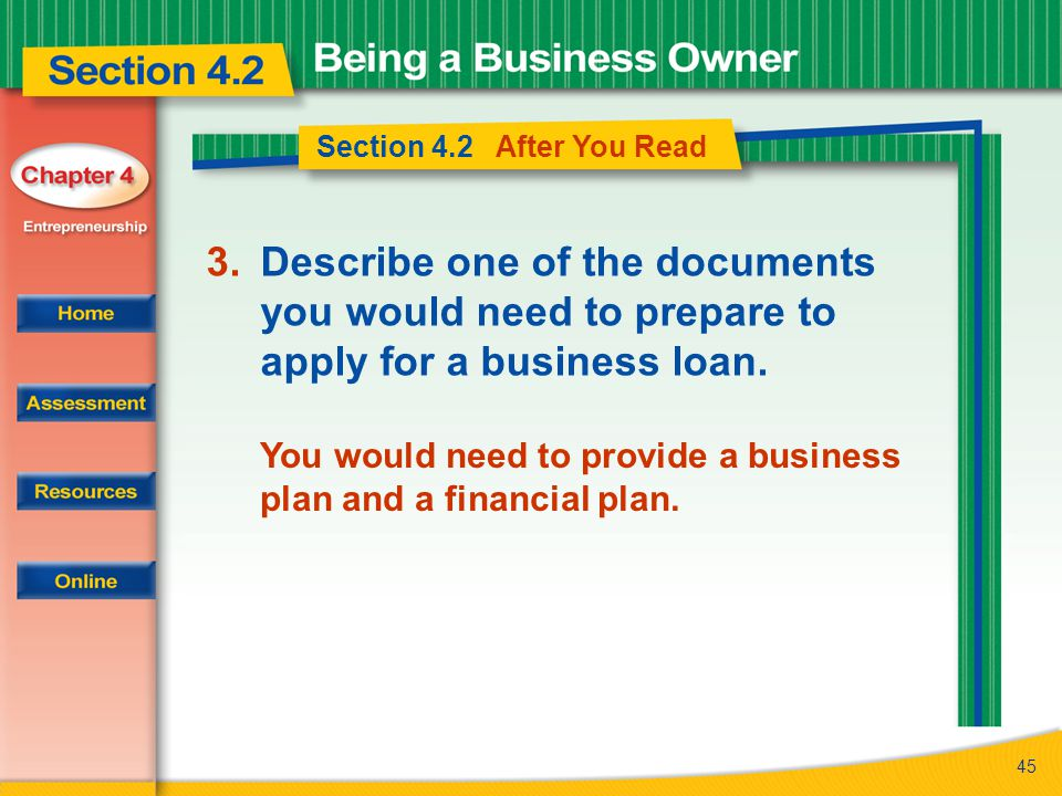 Section 4.2 After You Read Describe one of the documents you would need to prepare to apply for a business loan.
