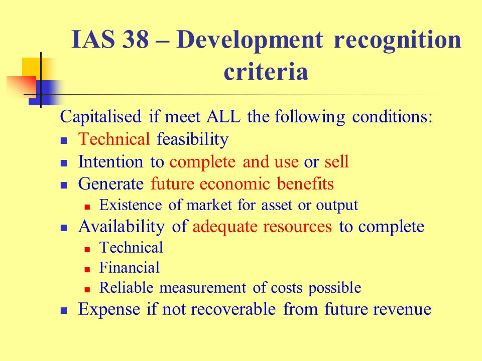 IAS 38 – Development recognition criteria
