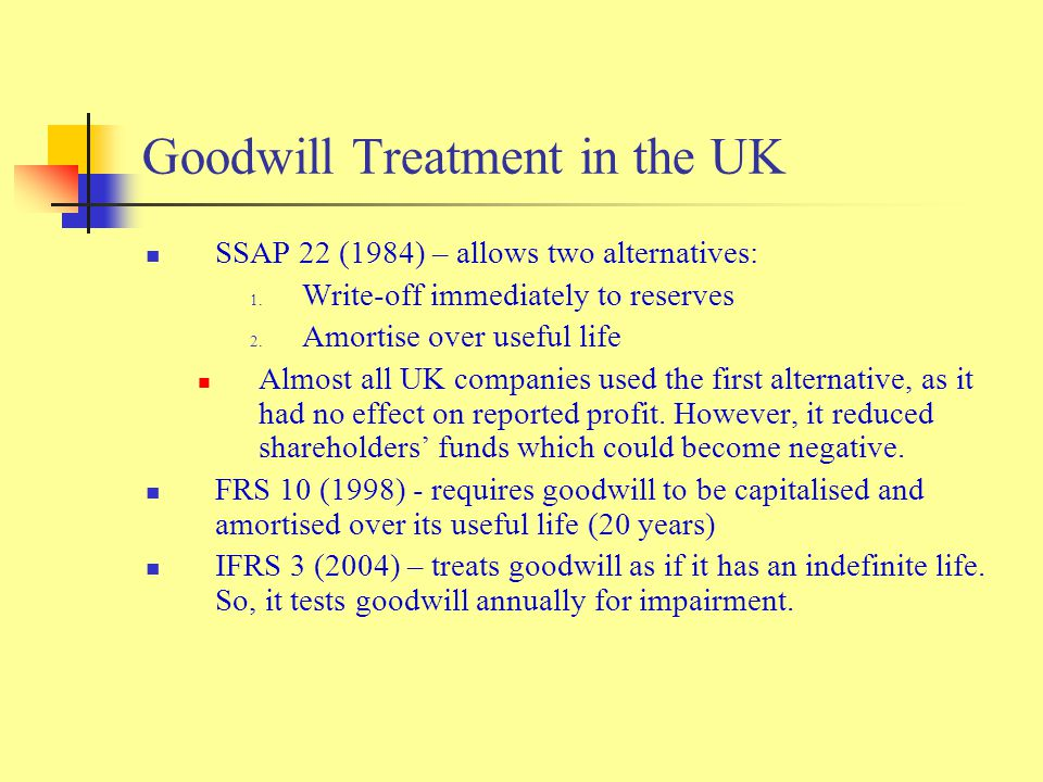 Goodwill Treatment in the UK