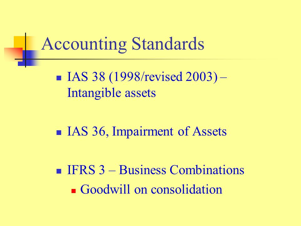 Accounting Standards IAS 38 (1998/revised 2003) – Intangible assets