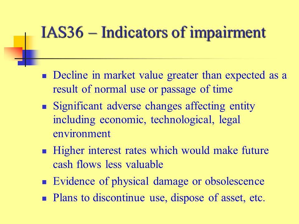 IAS36 – Indicators of impairment