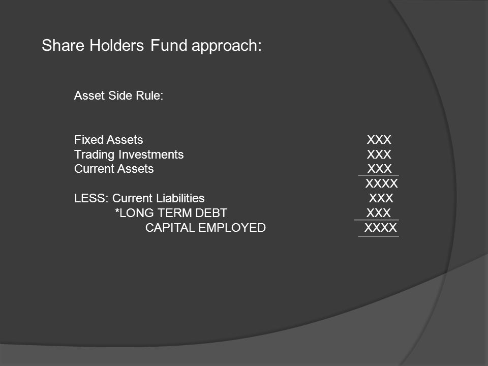 Share Holders Fund approach: