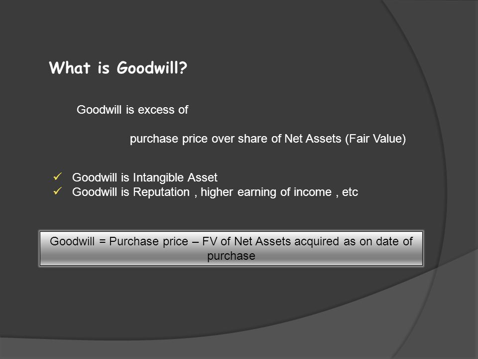 What is Goodwill Goodwill is excess of