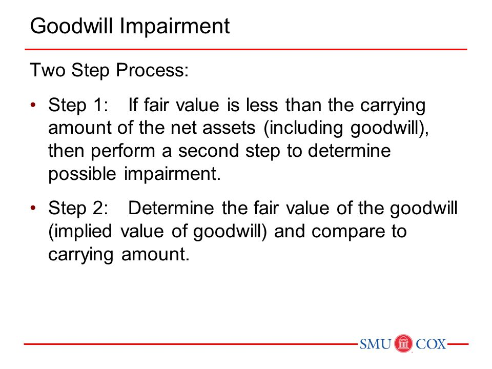 Goodwill Impairment Two Step Process:
