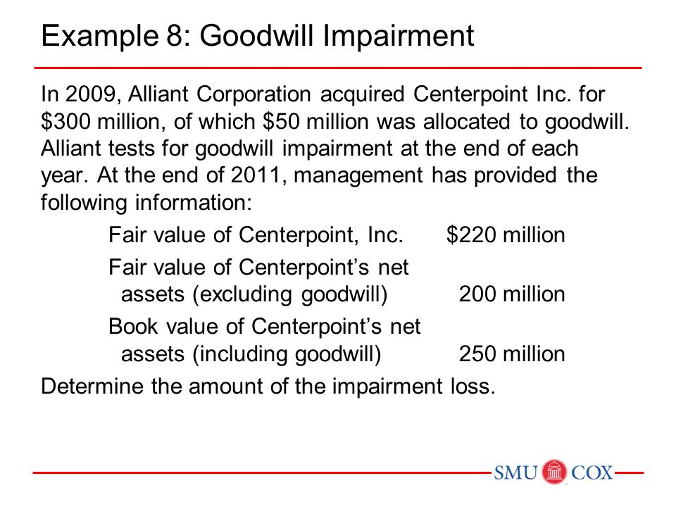 Example 8: Goodwill Impairment