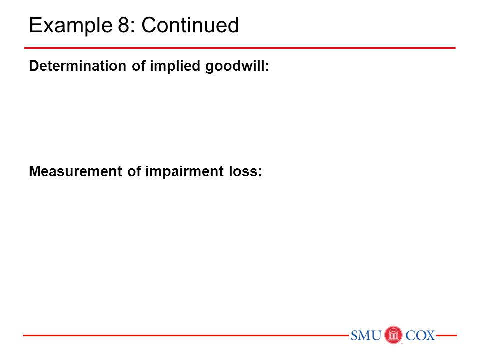 Example 8: Continued Determination of implied goodwill: Measurement of impairment loss:
