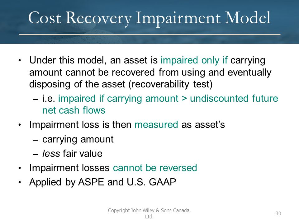 Cost Recovery Impairment Model