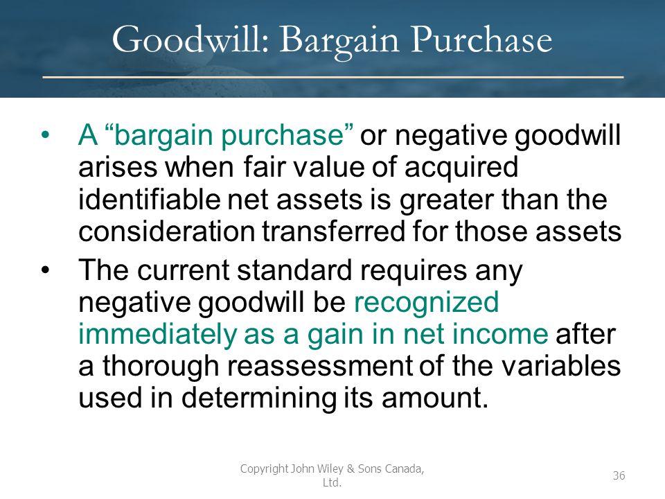 Goodwill: Bargain Purchase