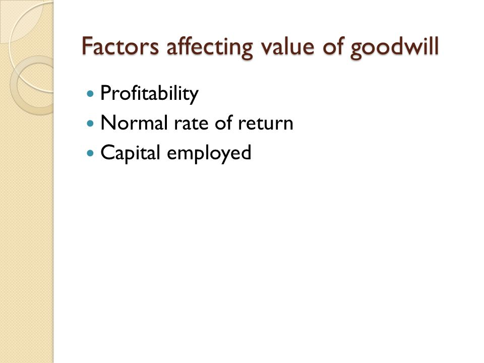 Factors affecting value of goodwill