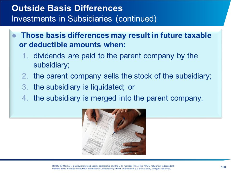 Outside Basis Differences Investments in Subsidiaries (continued)