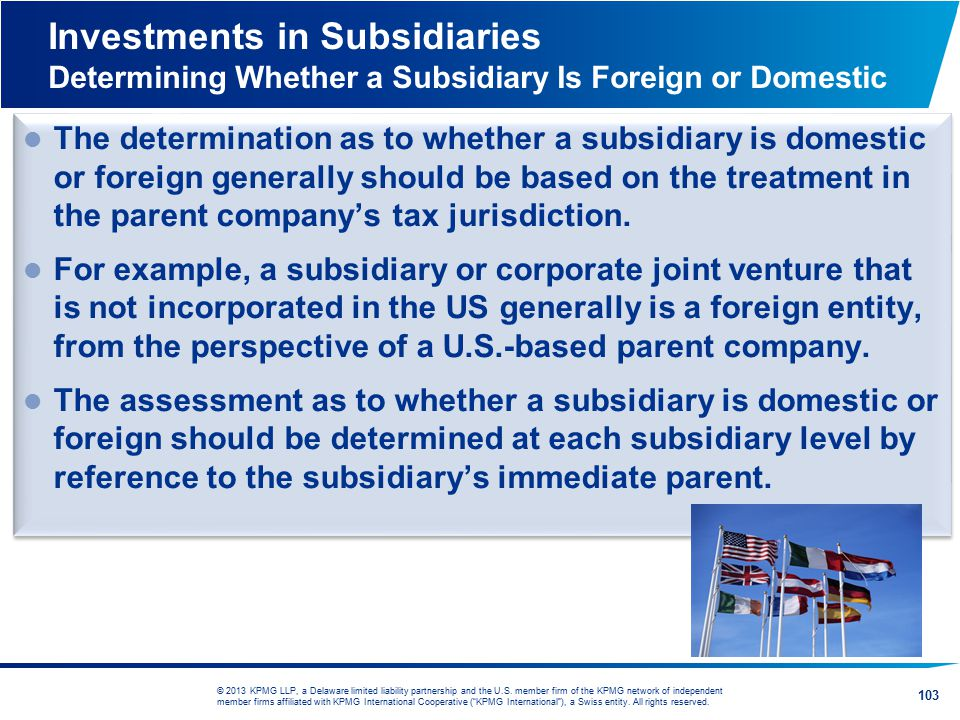 Investments in Subsidiaries Determining Whether a Subsidiary Is Foreign or Domestic