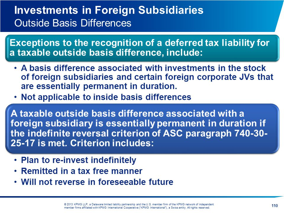 Investments in Foreign Subsidiaries Outside Basis Differences