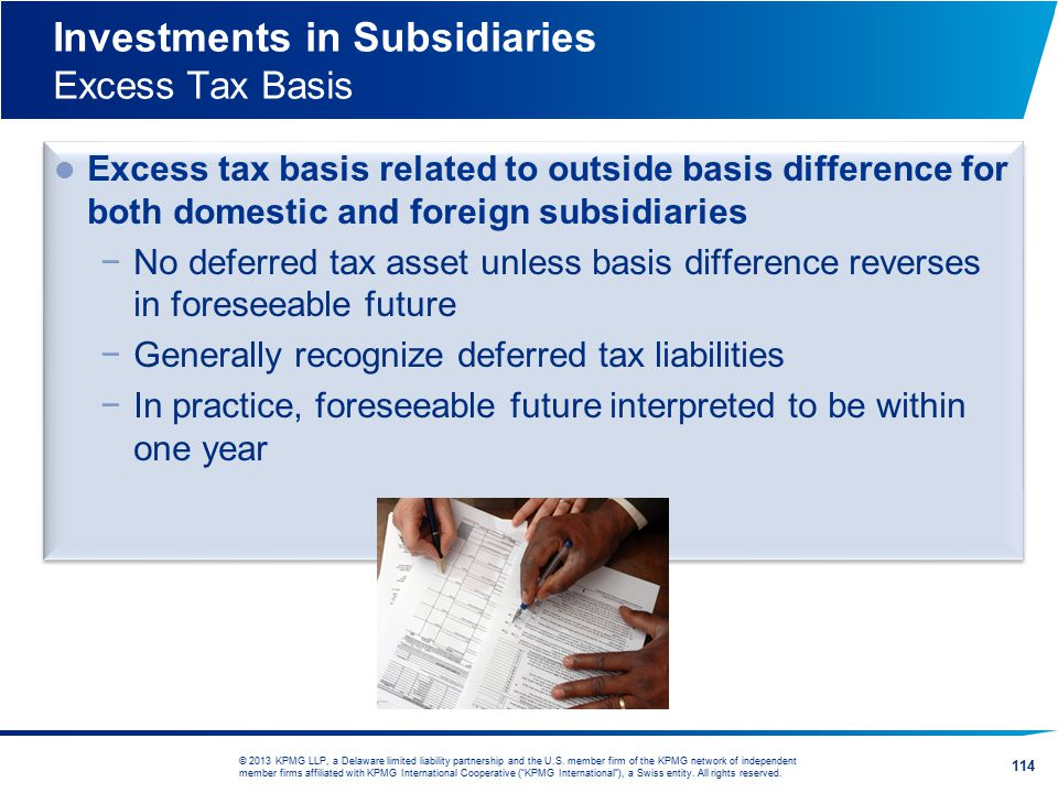 Investments in Subsidiaries Excess Tax Basis