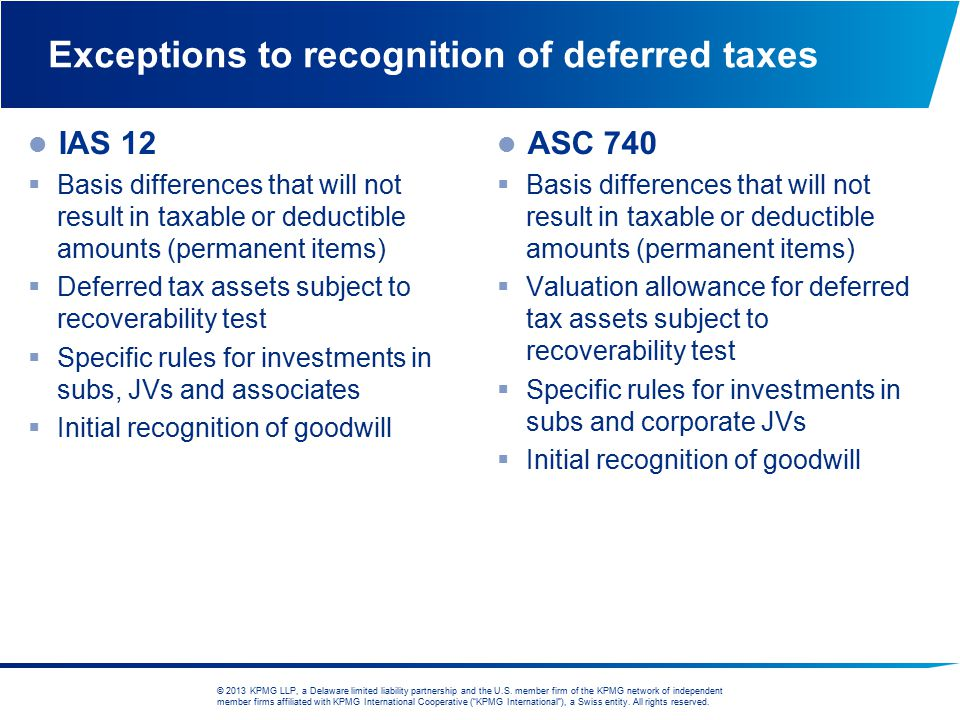Exceptions to recognition of deferred taxes
