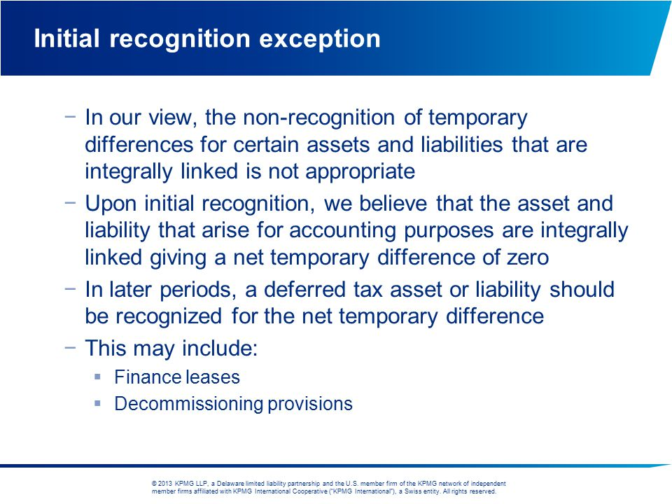 Initial recognition exception