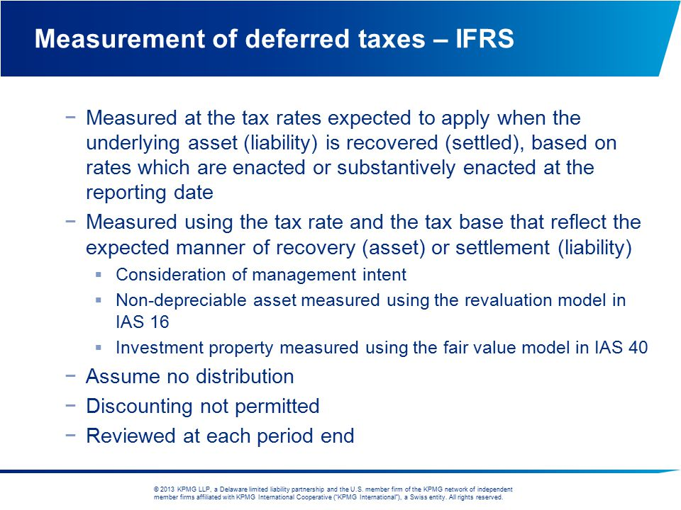 Measurement of deferred taxes – IFRS
