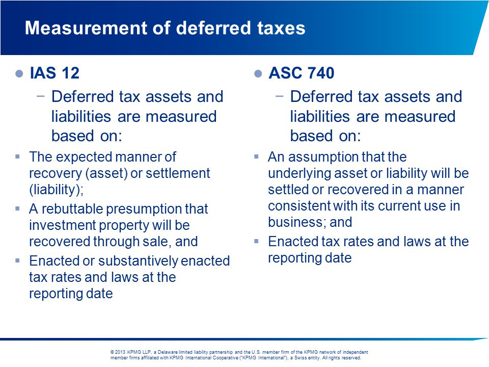 Measurement of deferred taxes