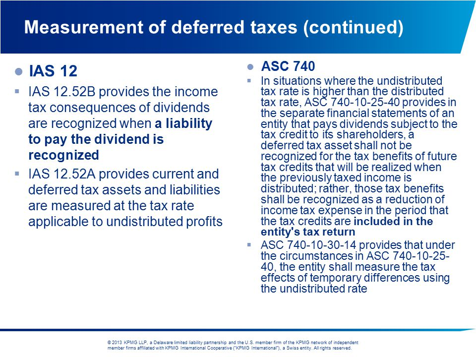 Measurement of deferred taxes (continued)