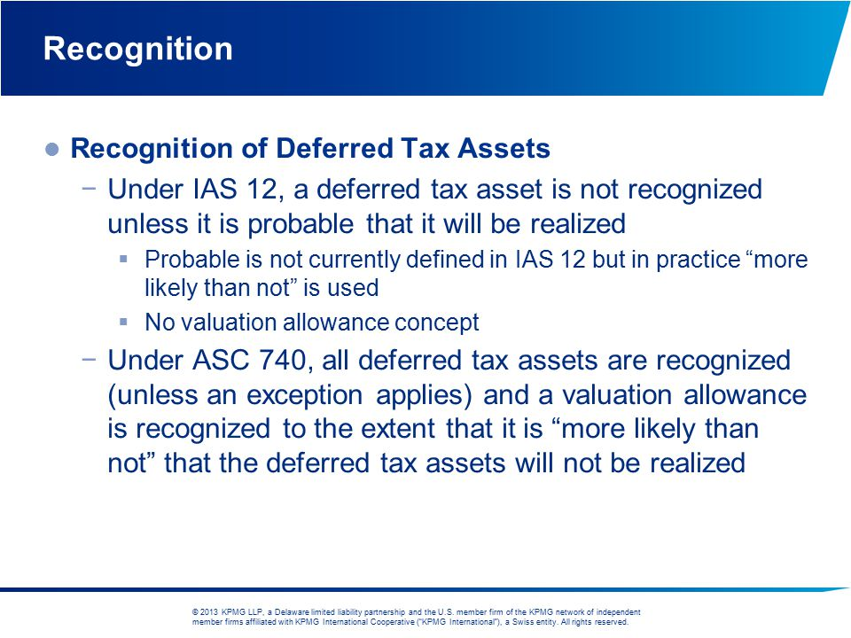 Recognition Recognition of Deferred Tax Assets