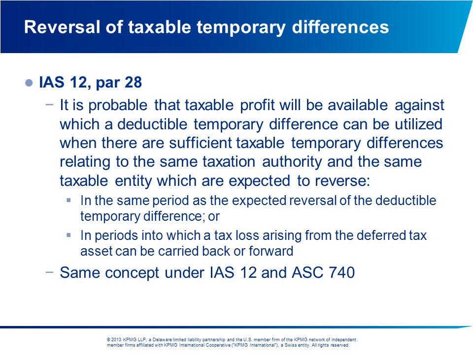 Reversal of taxable temporary differences