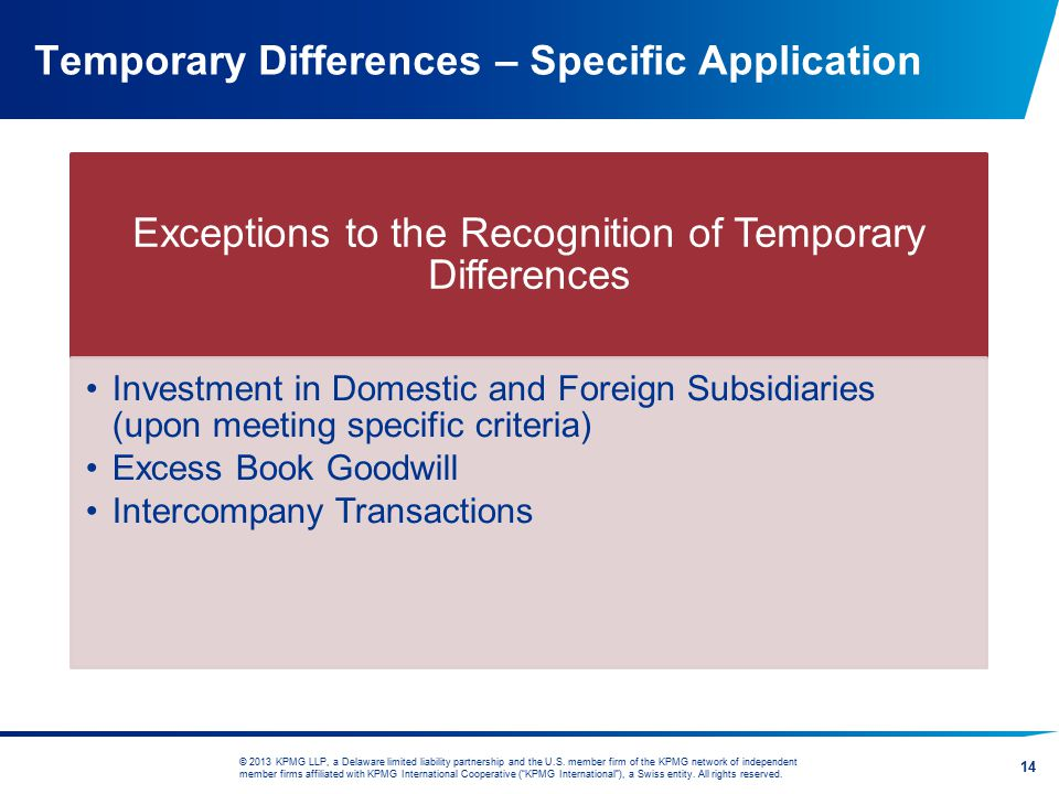Temporary Differences – Specific Application