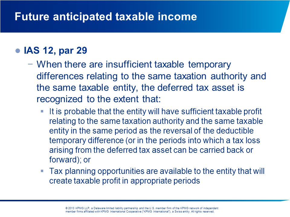 Future anticipated taxable income
